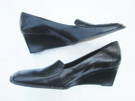 Etienne Aigner Shoes 10 Med Corona Black Leather Square Toe Wedge Made in Brazil - $14.24