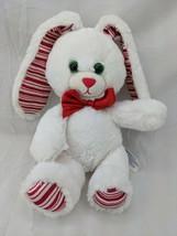 "Build a Bear White Rabbit Red Stripes 9"" Stuffed Animal Toy - $13.45"