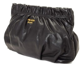 Authentic Prada Gathered clutch. Crafted in vitello leather retail price... - £270.24 GBP