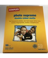 "Staples Photo Supreme 50 Sheets Double sided Matte 8.5"" X 11"" #564121 inkjet NEW - $16.82"