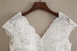 White Cap Sleeve V Neckline Lace Tanks Boho Wedding Bridesmaid Tops Covers-plus  image 2