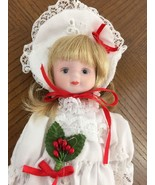 "Christmas Blonde Doll White Victorian Doily Dress Bonnet Vintage 9"" Holl... - $13.39"