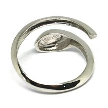 WHITE GOLD RING 750 18K, SNAKE, STYLIZED, MADE IN ITALY, OPEN image 4