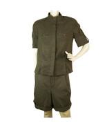 Chloe Gray Green Wool Button Shirt Top and Bermuda Pants Trousers Set sz 36 - $386.10