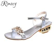 2018 open new women's fashion female wild Rimocy summer crystal toe sandals com RnSwE0xw