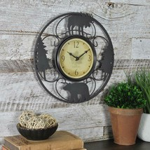 Cabin Pine Lodge Wildlife Round Metal Wall Clock, Brown/Black, Modern Ru... - $37.51
