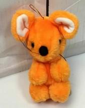 "Vintage ACE Novelty Co 5"" Orange Mouse Plush Carnival Fair Prize Rope Tail - $8.86"