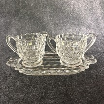 Fostoria American 3 Piece Creamer and Sugar Bowl Set With Tray - $8.95