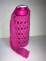 Water Bottle Holder Handmade Crochet 100% Cotton w/ Bottle Pink - $8.91