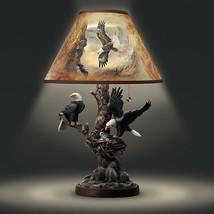 Rustic Majestic Bald Eagle Table Lamp Soaring Birds Sculpture Light NEW - $222.73