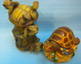 2 Turtle Tortoise  Figurines Garden Resin Green Brown - $19.95