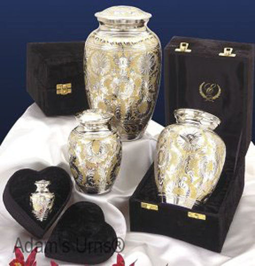"""Silver and Gold Colored Brass Funeral Cremation Urn w. Box, 7"""" Child/Pet Size image 3"""