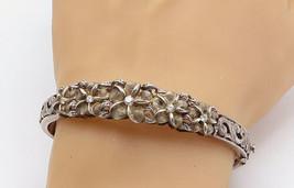 925 Sterling Silver - Vintage Topaz Floral Swirl Hinge Bangle Bracelet -... - $90.24