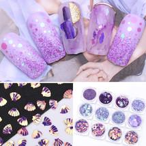 12Boxes Purple Holographic Sequins Glitter Powder Star Round Nail 3D Dec... - $15.00