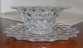 Fostoria Mayonnaise / Relish Bowl and Plate Set Crystal American pattern - $27.72