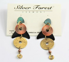 ESTATE VINTAGE Jewelry NOS ON CARD SILVER FOREST VT MIXED METAL BOHO EAR... - $10.00