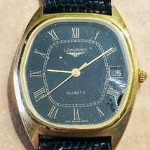 Vintage Longines Watch Mens 1980's Quartz with Lezard Veritable Watch Band Strap - $290.24