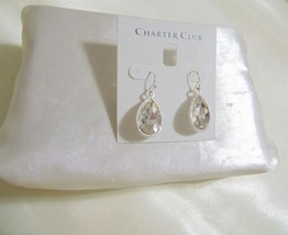 "Charter Club 1-3/8"" Silver Tone Crystal Teardrop Dangle Earrings L785 $32 - $13.43"