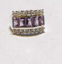 PURPLE AMETHYST OCTAGON & WHITE TOPAZ BAND RING, 925 SILVER, SIZE 7, 3.37(TCW) - $28.00
