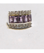 PURPLE AMETHYST OCTAGON & WHITE TOPAZ BAND RING, 925 SILVER, SIZE 7, 3.3... - $28.00