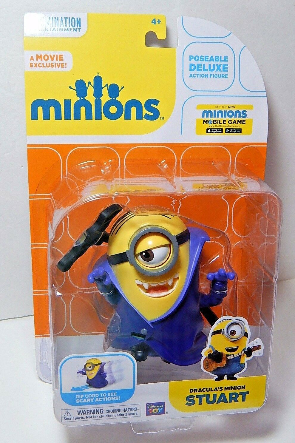 Primary image for Disney Thinkway Toys Despicable Me Deluxe Dracula's Minion Stuart  4""