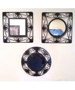 Vintage Home Interiors Black Framed Circles And Square Mirrors Set Of Th... - $29.70