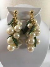 Vintage Dangle Faux Pearls Clip On Earrings With Green Glass Leaves - $22.00