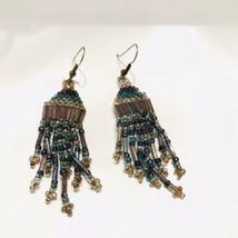 IridescentBeaded Dangle Drop Hook Earrings J6698 - $18.99