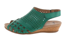 Earth Leather Perforated Wedge Sandals- Pisa Galli Teal Green 11W NEW A3... - $43.54