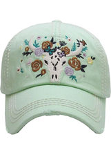 Distressed Country Western Cowgirl Longhorn Flowers Hat Baseball Cap image 10