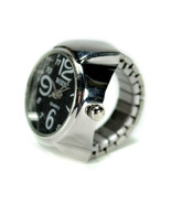 WATCH RING Finger Stretch Band Chrome Time Jewelry NEW Large Number Blac... - $8.95