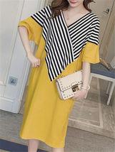 Maternity Dress Patchwork Color Block Stripes Batwing Sleeve V Neck Loose Dress image 3