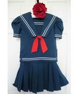 Vintage Jayne Copeland 2 PC Middy Sailor Dress 6X Girls Blue Red White T... - $45.99
