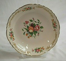 Old Vintage Cereal Soup Bowl Homer Laughlin Fruit Floral Pattern Scalloped USA - $12.86