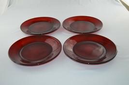 4 Anchor Hocking Royal Ruby Dinner Plates - $15.84