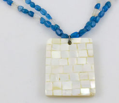 White Mother of Pearl PENDANT on a Teal Gemstone and White MOP Beads NEC... - $75.00