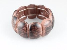 Brown Black stretch bracelet wood look plastic wide bangle cuff brushed - ₹498.07 INR
