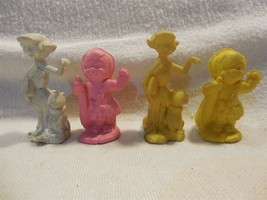Flintstones Vintage Diener Rubber Itty Bitty Figure Set Betty & Bamm-Bam... - $11.95