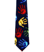 Kids Handprints Men's Neck Tie Novelty Art Teacher Education Blue Necktie - $15.79