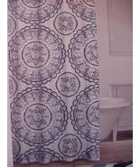 Caro Home Avalon Denim Navy Aqua Blue Medallions Shower Curtain - $38.00