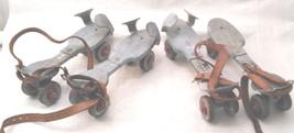 2 Pairs Antique Old Adjustable Metal Roller Skates Primitive Farm Countr... - $27.99