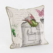 Fennco Styles El Ave Vintage Embroidered Birdcage Decorative Throw Pillo... - $36.62