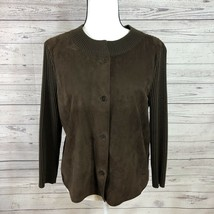 Talbots Size M Suede Leather Sweater Button Jacket Pure Italian Merino B... - $46.52