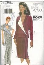7493 UNCUT Vogue Sewing Pattern Misses Skirt Loose Fitting Wrap Top Koko... - $8.99