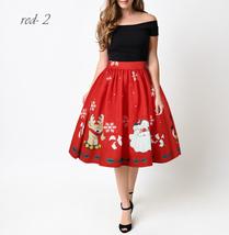 RED Christmas Print  A-line Swing Skirt Women High Waist Knee Length Flare Skirt image 7