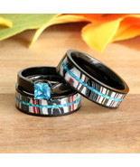 His & Hers Opal Fordite Black Stainless Steel Band Matching Wedding Ring... - $174.99