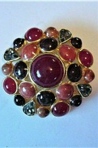Vintage JOAN RIVERS Brooch Cabochons Burgundy Caramel Cranberry Colors - $85.00