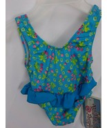 BEACH PARTY BABY SWIM SUIT 18 MOS BLUE CHERRY CLUSTERS SUMMER NYLON LYCR... - £9.41 GBP