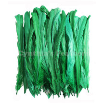 "50pcs 8-10/"" long Emerald Green Dyed Rooster COQUE tail Feathers for crafting NEW"