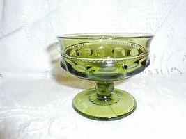 "Indiana Glass Co King's Crown Thumbprint 5"" Green Sherbet/Dessert Dish - $0.98"